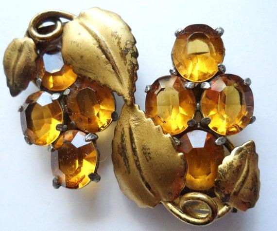 SALE Pair Vintage Art Deco Grape Cluster Topaz Glass Rhinestone Dress Shoe Clips - Brass and Silvertone Metal