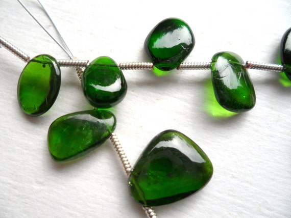 FULL STRAND - Chrome Diopside - Freeform Smooth Slice Briolettes - Gemstone Beads - Rare - 12 PCS, Pantone 2013 Color of the year