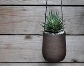 Modern Simple Dark Brown Hanging Planter - Large