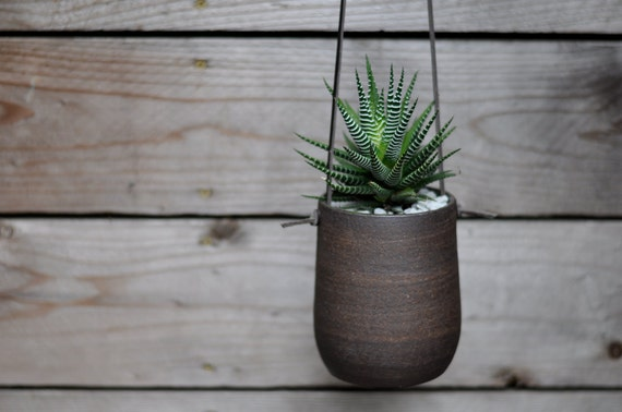 Modern Simple Dark Brown Hanging Planter - Large
