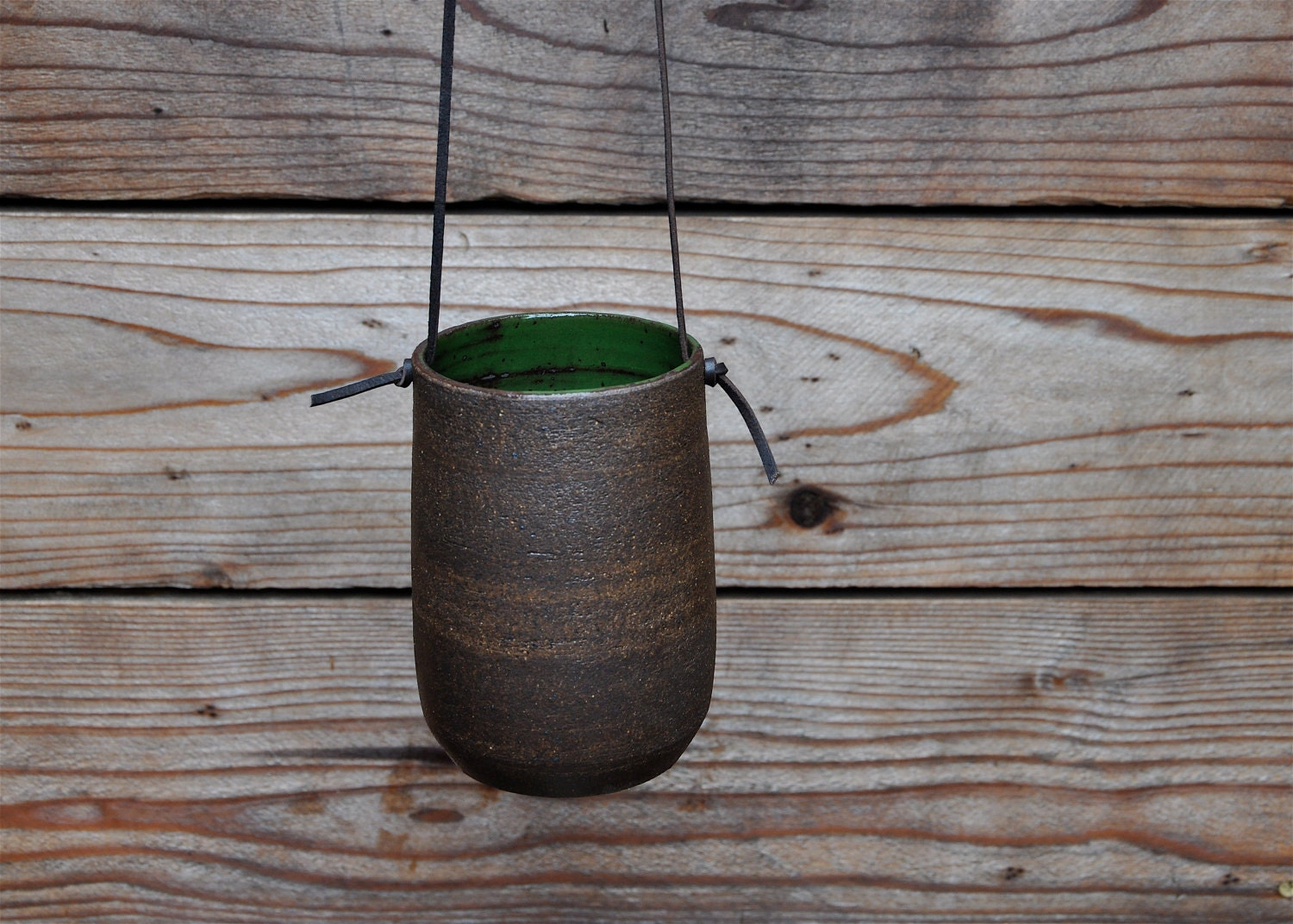 Modern Simple Dark Brown Hanging Planter By Putikmade On Etsy