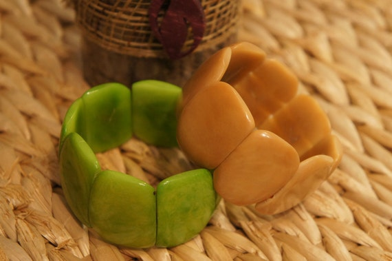 Yellow Bracelet Tagua NUT Bracelet handmade from Natural Seed