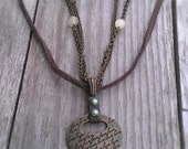 Leather Necklace Love Pendant Natural Boho