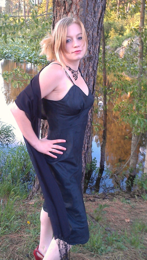 Vintage Black Slip Dress 1950's, Size 32