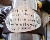 Follow your Heart-Upcycled leather cuff bracelet hand stamped silverware