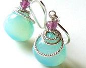 Blue chalcedony earrings - Earrings with chalcedony and garnet - Sterling silver gemstone earrings