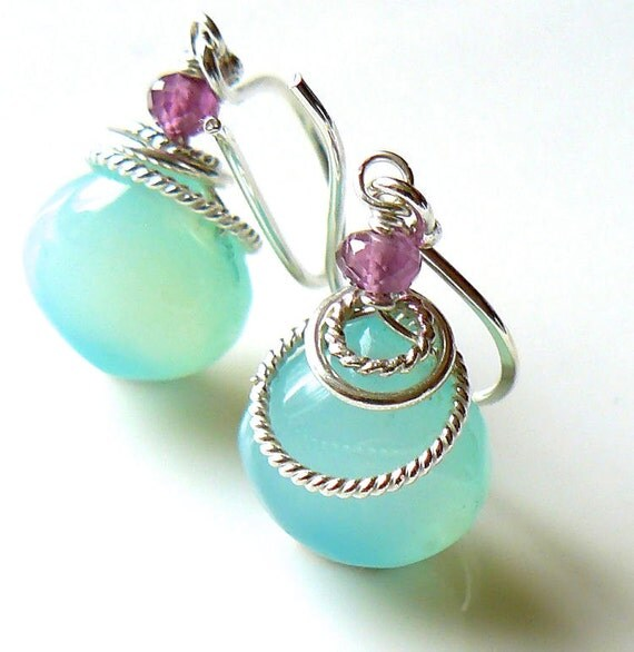 Blue chalcedony earrings - Earrings with chalcedony and garnet - Sterling silver gemstone earrings