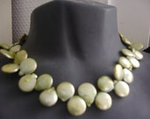 Pearl jewelry necklace real pearls springtime jewelry,flat circle light green mint  silver pearl necklace
