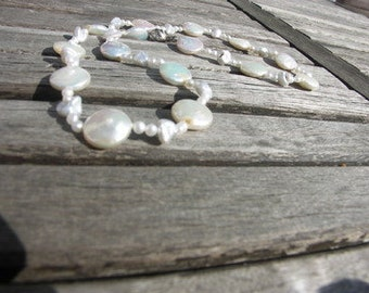 Pearl Necklace  white pearls bride's necklace wedding gift bridal jewelry Coins Keshi Seed Pearls
