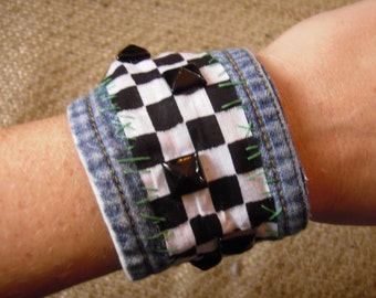 Checker Studded Cuff