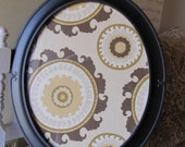 Oval magnetic memo board, suzani fabric, organize, The Charming Wall