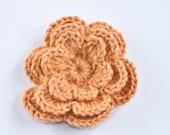 Wool knitted flower brooch