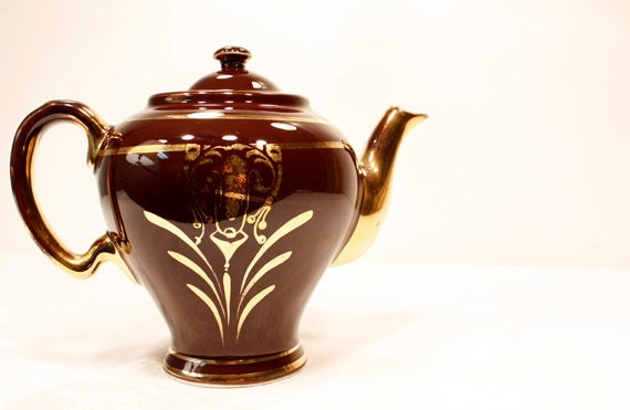Reserved Rare Vintage Hall Mccormick Teapot Brown With Gold