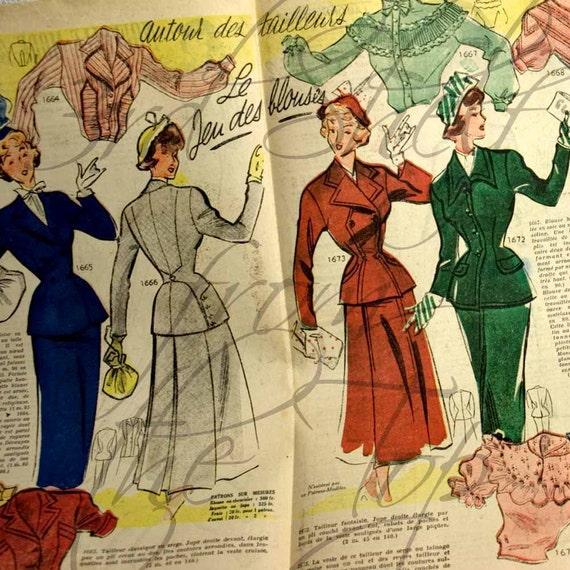 1949 French Fashion Magazine Illustration Paper Ephemera Double Color Page