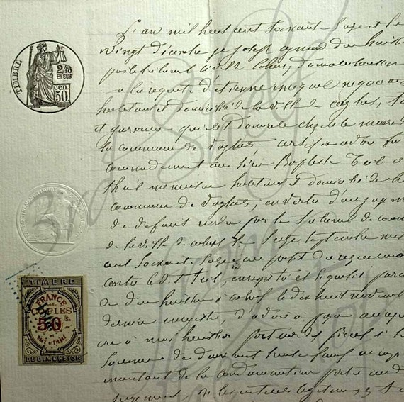 Antique 1876 Handwritten French Legal Document with Stamps