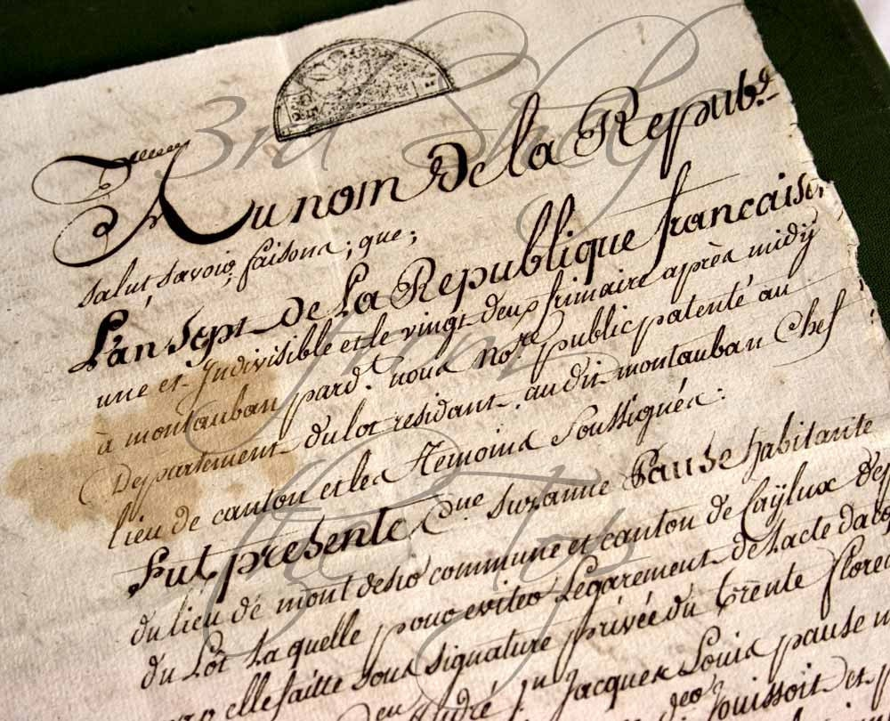Handwritten French Calligraphy 1847 Legal Document 4 Pages