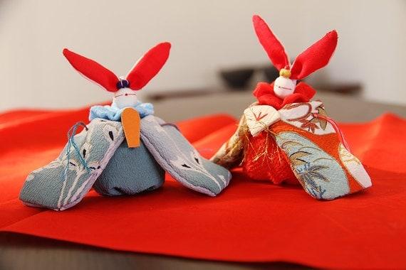 Rabbit Couple Hina Doll with Vintage Kimono fabric, Orange & Sky blue, No.2