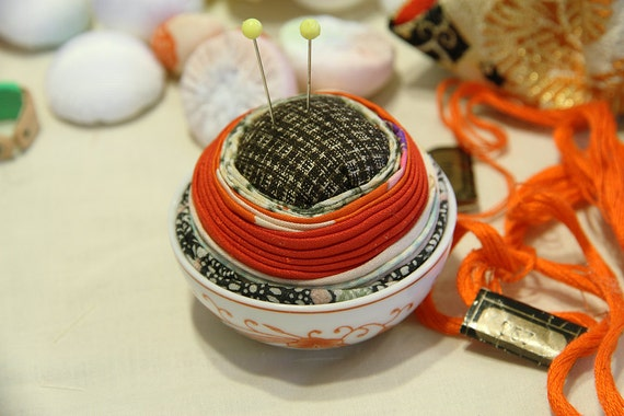 Pin Cushion with Japanese Kimono Fabric and small pottery, Black, No.4
