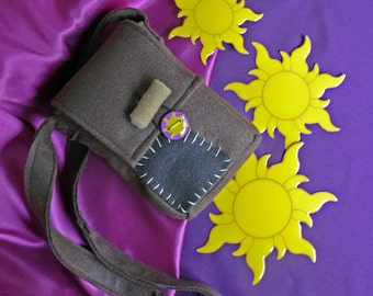 Tangled's Flynn satchel with sun button - Rapunzel Party favors