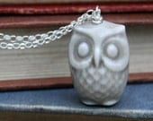 porcelain and silver owl necklace