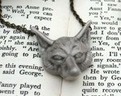 Fox face necklace, handmade porcelain.
