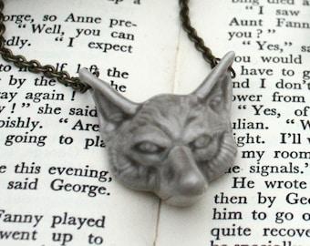 Fox face necklace, handmade porcelain.