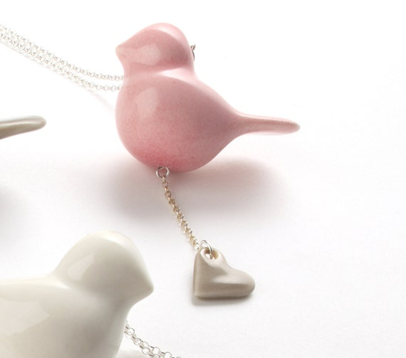 porcelain and silver bird necklace, pink bird with grey heart.
