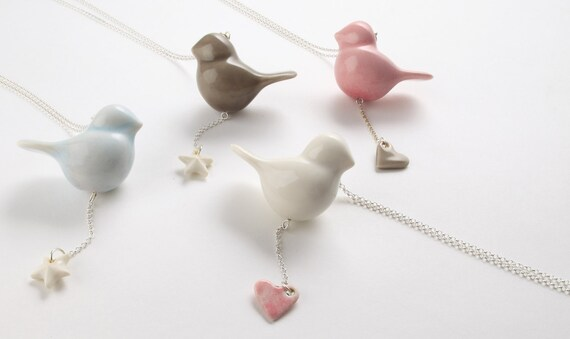 Porcelain and silver bird necklace