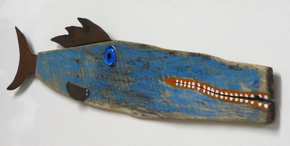 Beach house decor - TUNA Turner  3  ... Large reclaimed wood and recycled metal fish art