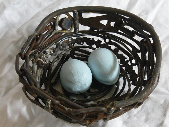 A Sign of Spring 3 ... Welded found object garden art birds nest