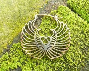 Earrings, brass winged heart earrings