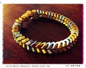 Two-Tone Chevron Fishbone Hex Nut Bracelet