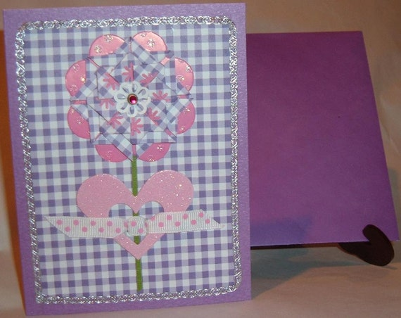3D Flower Card - Any Occasion Blank - Pink and Purple Tea Bag Flower - Gingham - Heart