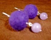 Purple Felt and Amethyst French Earrings