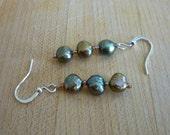 Freshwater Pearl Earrings Green Pearl Dangle Earrings Beaded Earrings Drop Earrings