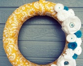 Fabric Wreath - Yellow & White Paisley with Teal Accents