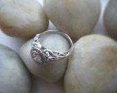 Diamond Engagement Ring 14K White Gold Diamond Halo Scroll Work