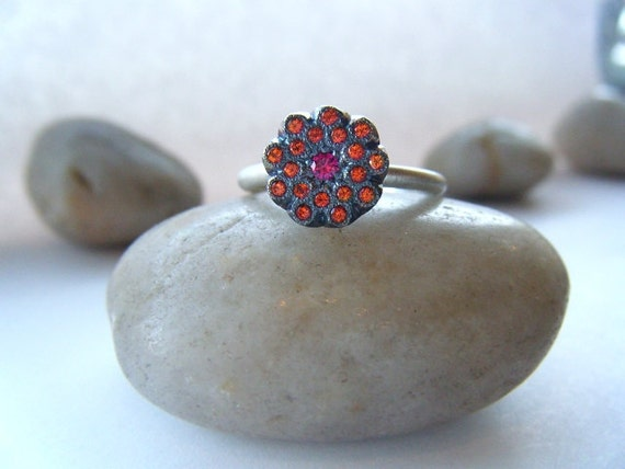 Poppy Orange Natural Topaz and Pink Ruby Oxidized Sterling Silver Statement Ring