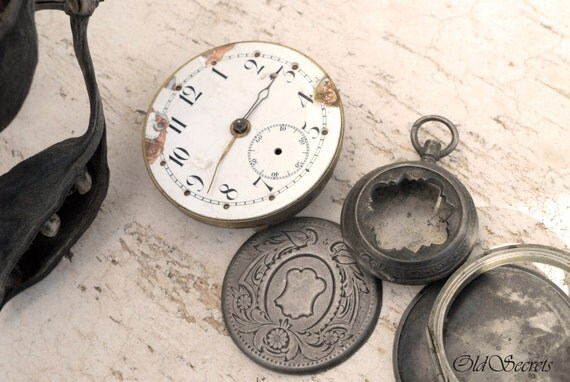 Antique Pocket Watch Movement & Watch Cases 4Pcs, Enamel Watch Face, Silver Watch Cases, Mixed Media Art Steampunk Supplies, Watch Repair