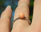 Ambers Vintage Angel Skin Coral Sterling Silver Ring Apprx. Circa 1930s Unusual Bamboo Shank Band 925 Peachy Peach Fleshtone