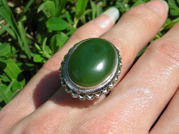 Ambers Vintage Genuine Nephrite Jade Gorgeous Emerald Grass Green Huge Stone Ring Silver or Gold Setting