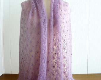 Pink lilac hand knitted kidsilk lace shawl/ stole