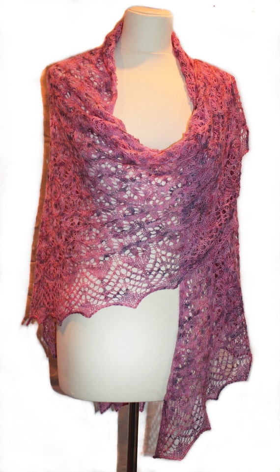 Purple Rosa hand knitted lace shawl