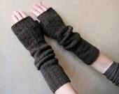 ON SALE 40% Hand knitted Women Fingerless Gloves Dark brown/green