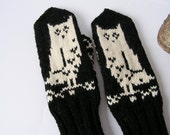 Hand knitted 100% wool Women Mittens with Owls and folksy ornament Black Natural white MADE TO ORDER