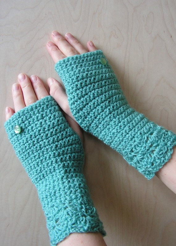 SALE OFF 50% Hand crocheted Women Fingerless Gloves with Buttons Mint