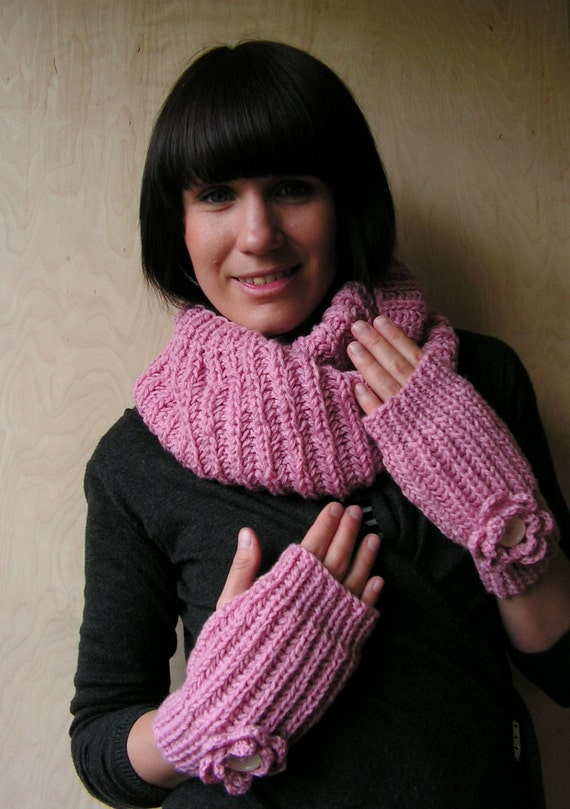 SALE off 50% Hand knitted Women fingerless gloves with Crocheted Flowers Pink Size S - L