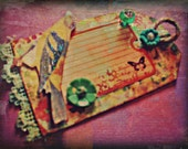 vintage B O O K M A R K . beautifully decorated with tons of whimsy and kitsch . craft & scrapbook . gift tag . or assemblage art
