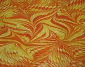 marbled paper turkish paper ebru orange red yellow abstract