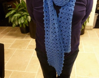 "Blue Bell Crocheted Scarf 6"" x 82"""